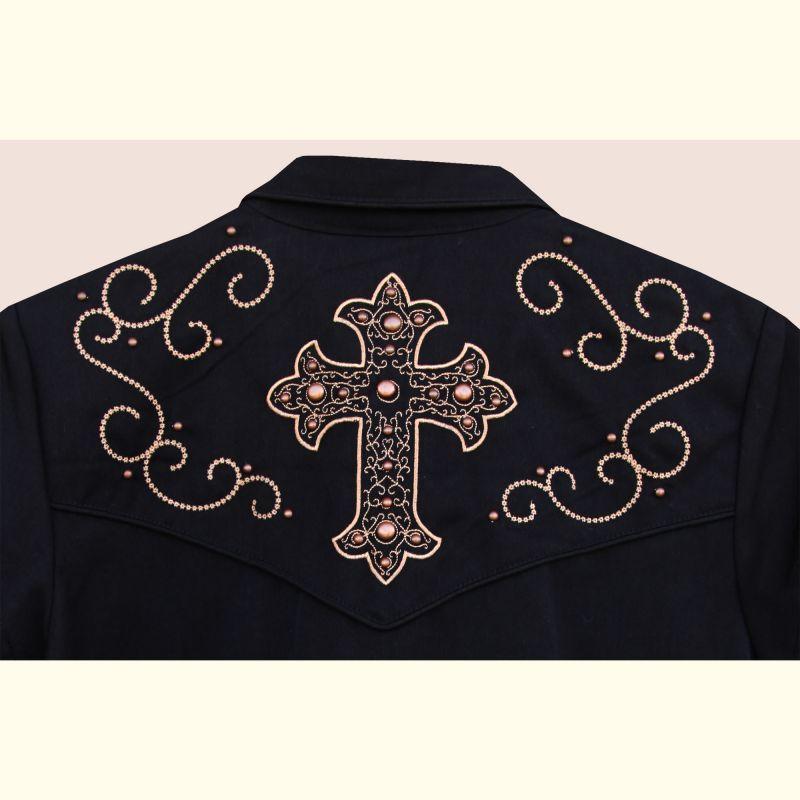 画像3: スカリー 刺繍 スクロール ウエスタン シャツ ブラック キャップスリーブ/Scully Western Shirt(Women's)