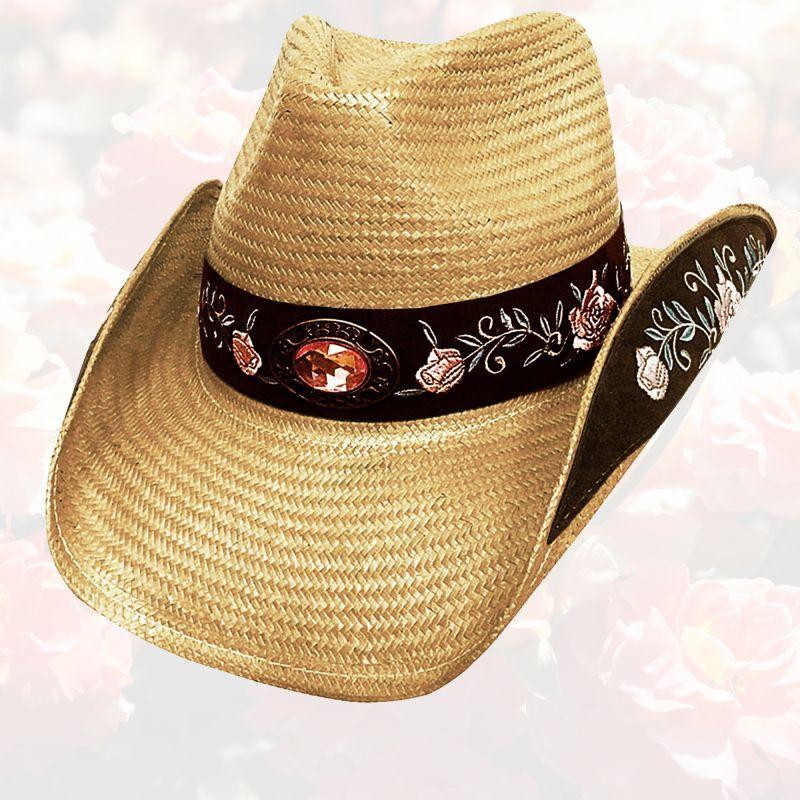画像1: ブルハイド ウェスタンストローハット(アートオブラブ)/BULLHIDE Western Straw Hat Art of Love(Pecan) (1)