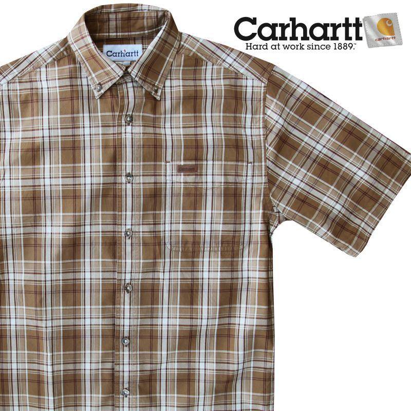 画像1: カーハート 半袖 シャツ(ブラウン)/Carhartt Plaid Shortsleeve Shirt(Brown) (1)