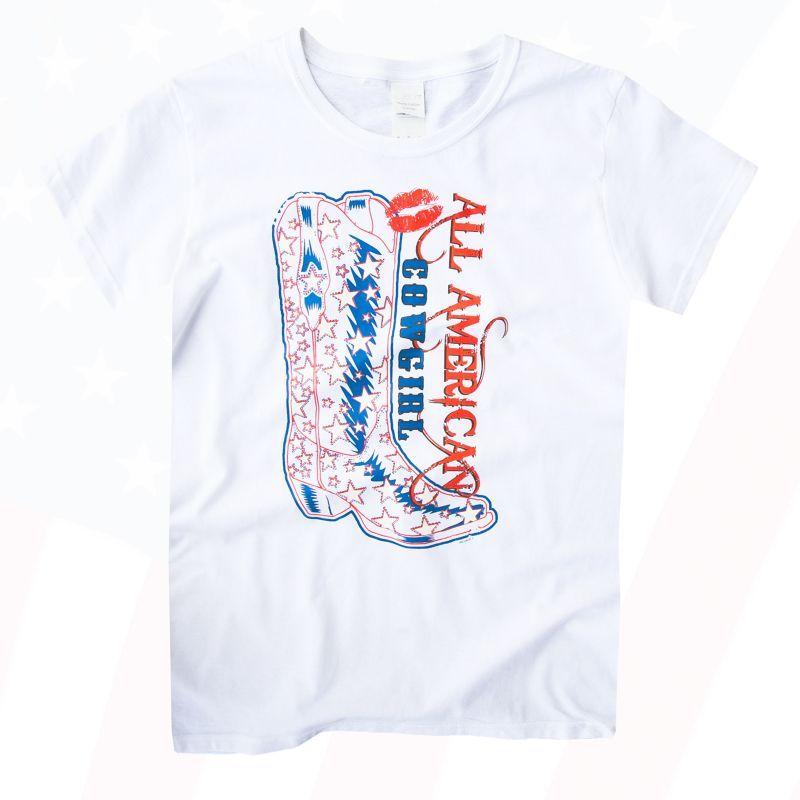 画像1: レディース ウエスタン Tシャツ スター・ブーツ ホワイト(半袖)/Women's Western T-shirt