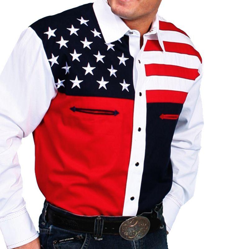 画像1: スカリー USA 刺繍シャツ(メンズ 長袖/アメリカンフラッグ)/Scully Long Sleeve Western Shirt
