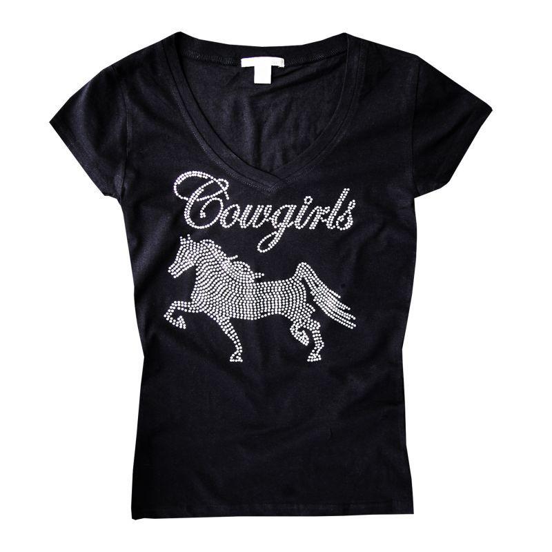 画像1: カウガール ホース ラインストーン ウエスタン Tシャツ ブラック(半袖)/Women's Western T-shirt