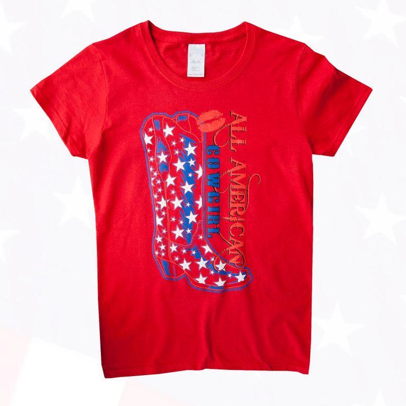 画像1: レディース ウエスタン Tシャツ スター・ブーツ レッド(半袖)/Women's Western T-shirt