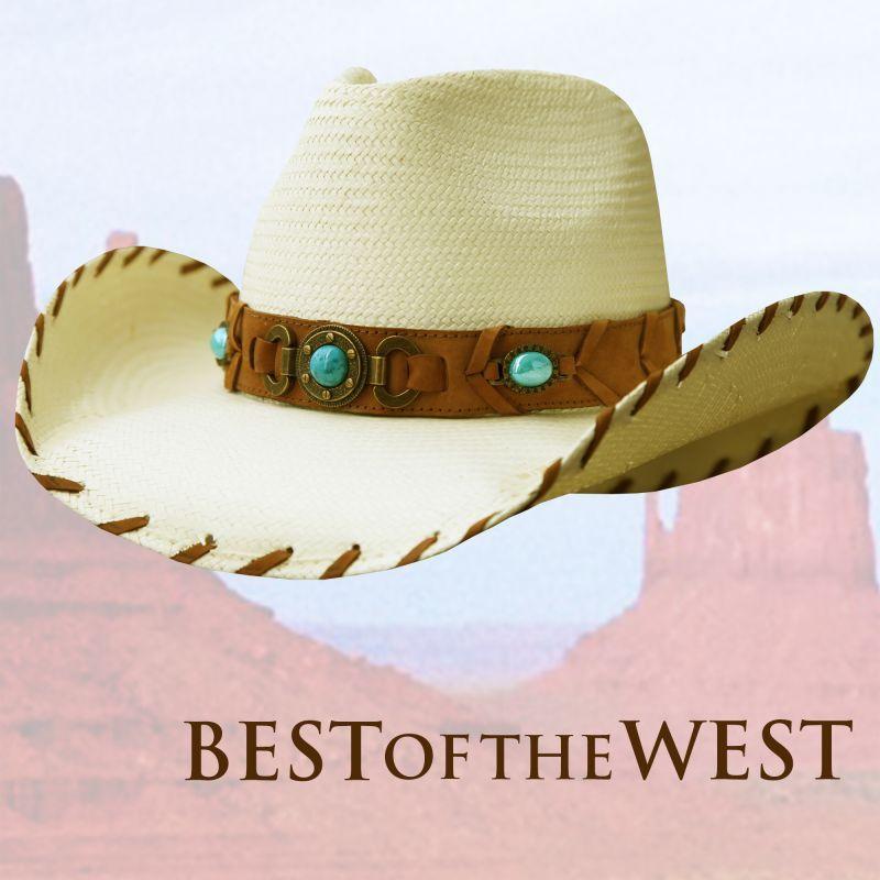 画像1: ブルハイド ウエスタン ストローハット ベストオブザウエスト(ナチュラル・ターコイズ)/Bullhide Western Straw Hat Best of the West(Natural)