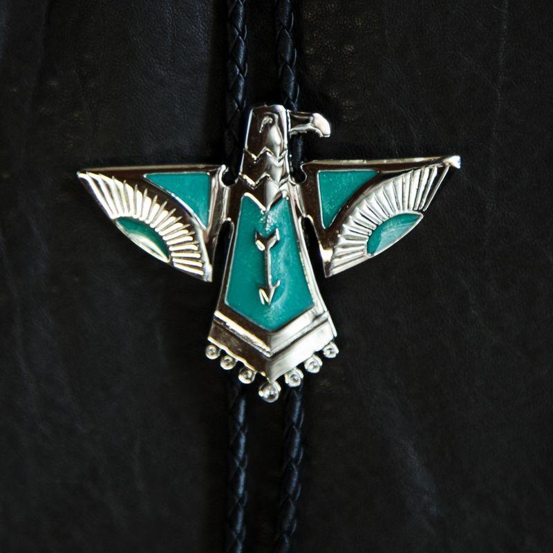 画像1: ボロタイ サンダーバード(シルバー・ターコイズ)/Western Bolo Tie Thunderbird