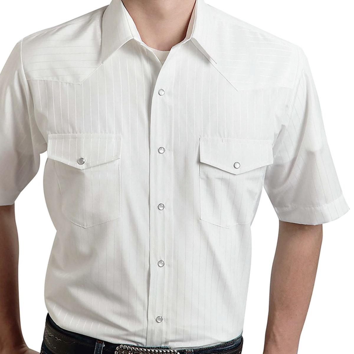画像1: ローパー ウエスタン シャツ(ホワイト・半袖)/Roper Long Sleeve Western Shirt