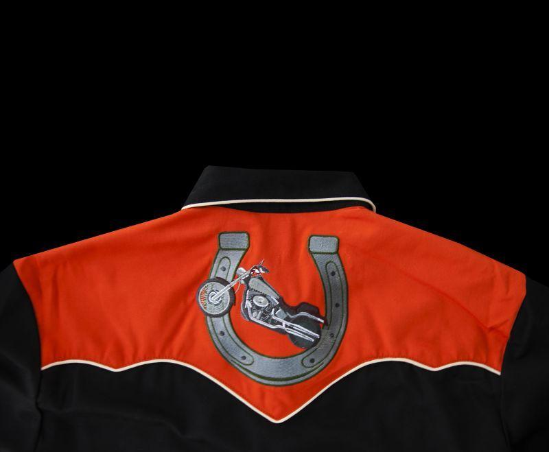 画像5: スカリー ウエスタン 刺繍 シャツ(長袖/モーターサイクル ブラック・オレンジ)/Scully Long Sleeve Embroidered Western Shirt(Men's)