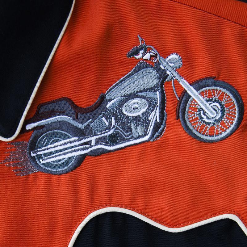 画像3: スカリー ウエスタン 刺繍 シャツ(長袖/モーターサイクル ブラック・オレンジ)/Scully Long Sleeve Embroidered Western Shirt(Men's)