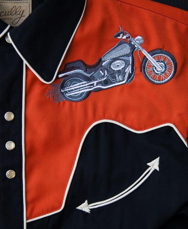 画像2: スカリー ウエスタン 刺繍 シャツ(長袖/モーターサイクル ブラック・オレンジ)/Scully Long Sleeve Embroidered Western Shirt(Men's)