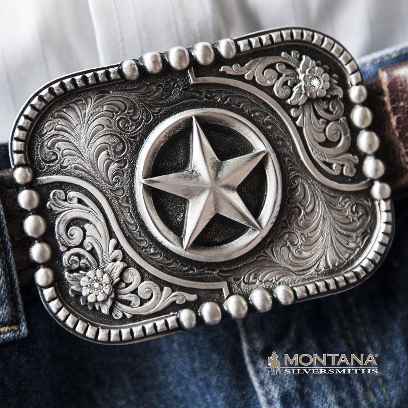 画像1: モンタナシルバースミス ベルト バックル テキサスローンスター/Montana Silversmiths Belt Buckle