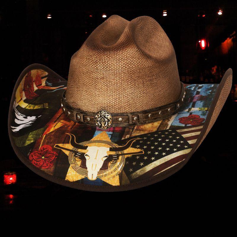 画像1: ブルハイド ウェスタン ストローハット(アイニードアドリンク)/BULLHIDE Western Straw Hat I need a drink(Pecan)