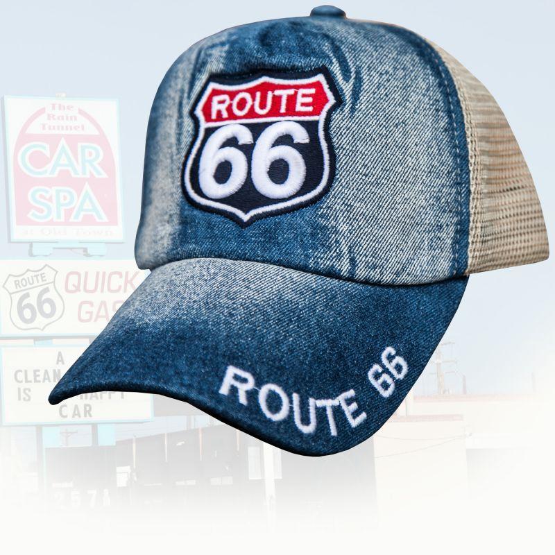 画像1: ルート66 刺繍 メッシュ キャップ(デニム)/Route 66 Cap(Denim) (1)