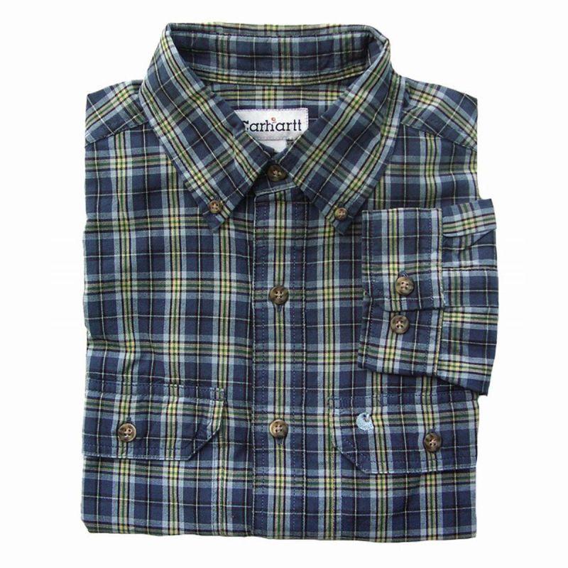 画像1: カーハート ボタンダウン コットン 長袖シャツ S/Carhartt Long Sleeve Shirt(Blue) (1)