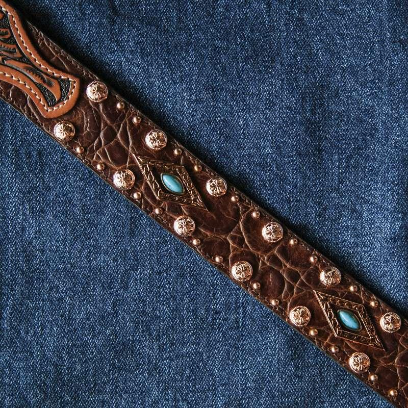 画像3: ウエスタン レザー ベルト(ブラウン・ターコイズ)/Western Leather Belt