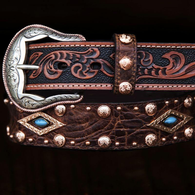 画像2: ウエスタン レザー ベルト(ブラウン・ターコイズ)/Western Leather Belt