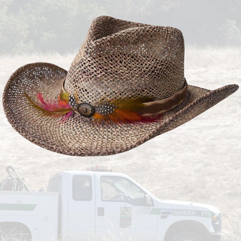 画像1: カウボーイ ストローハット(ナチュラル・ブラウン)/Western Straw Hat