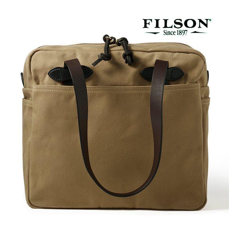 画像1: フィルソン トートバッグ(ファスナー付き/カーキ)/Filson Tote Bag with Zipper(Tan)