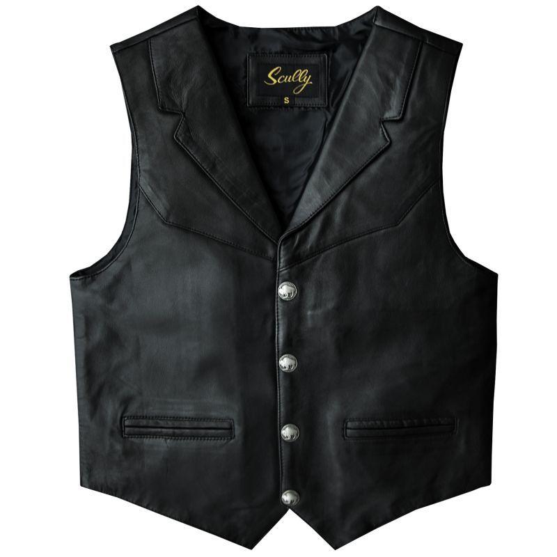画像1: スカリー バッファロースナップ レザー ベスト(ブラック)/Scully Lamb Leather Vest(Black)
