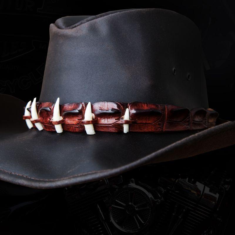 画像1: クロコダイルレザー&ティース オイルレザーハット(ダークブラウン)/Crocodile Hatband Oiled Leather Hat(Dark Brown)