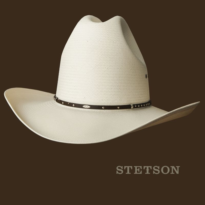 画像1: ステットソン ウエスタン ストローハット 59cm・クラウン高16cm/Stetson Western Straw Hat