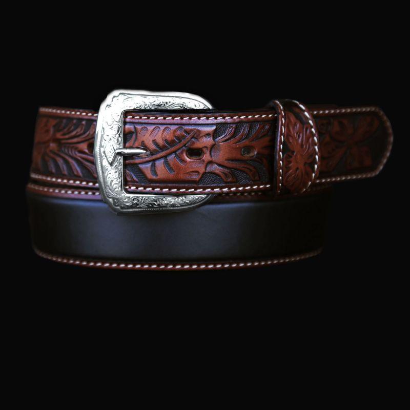 画像1: トニーラマ ハンドツールド レザー ベルト(ブラック・ブラウン)/Tony Lama Leather Belt (1)