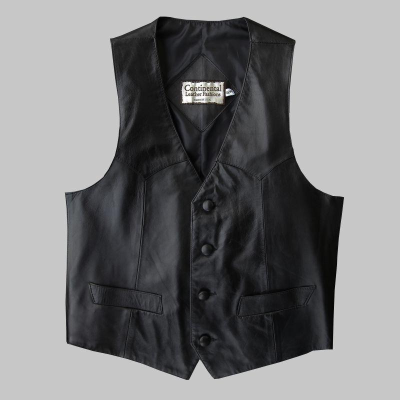 画像1: コンチネンタル レザー ウエスタン レザーベスト(ブラック)/Continental Leather Fashions Western Leather Vest(Black) (1)