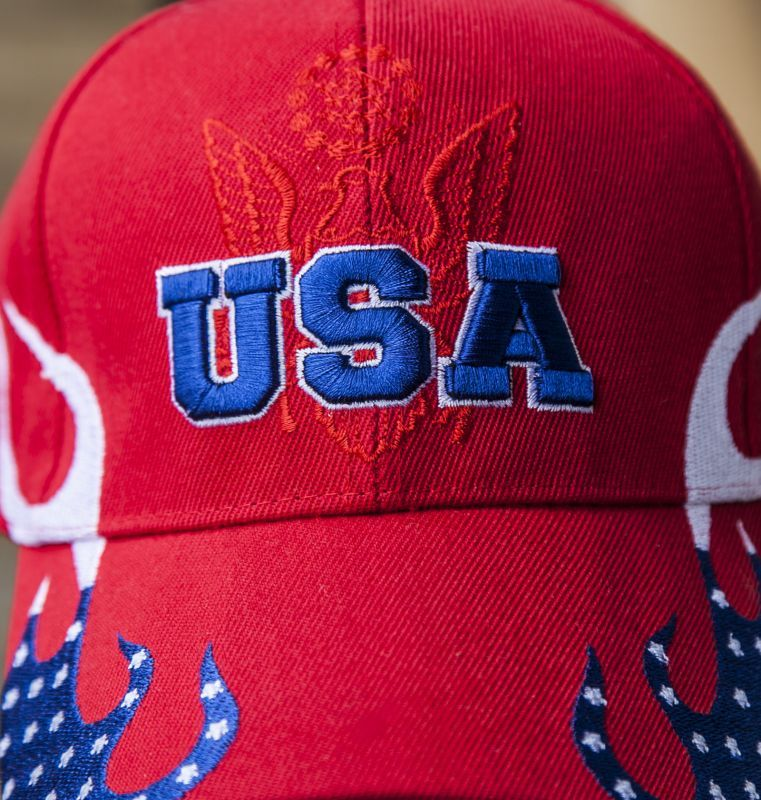 画像2: アメリカ U.S.A イーグル 刺繍キャップ レッド/Baseball Cap