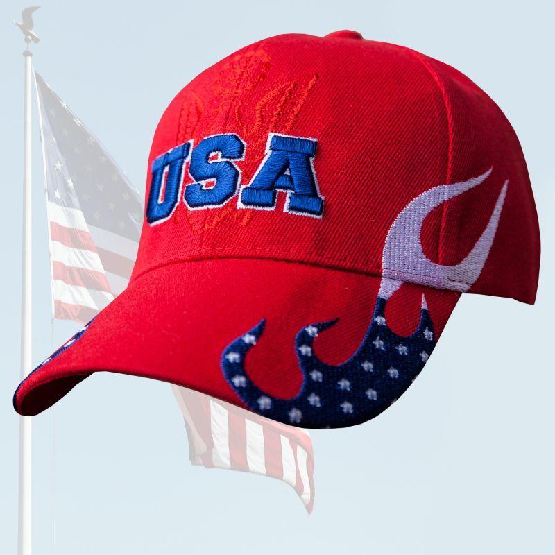 画像1: アメリカ U.S.A イーグル 刺繍キャップ レッド/Baseball Cap