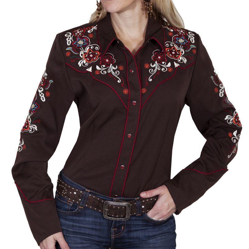 画像1: スカリー フローラル刺繍 ウエスタン シャツ(長袖/チョコレート)M/Scully Long Sleeve Western Shirt(Women's)