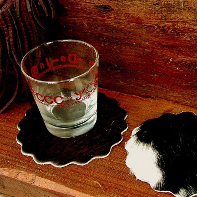 画像1: ウエスタン 牛毛皮 コースター/Cowhide Hair-on Coaster