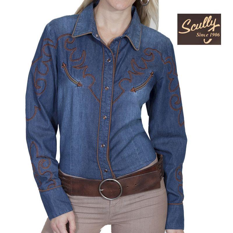 画像1: スカリー ウエスタン 刺繍 デニム シャツ(長袖/デニム)L/Scully Long Sleeve Western Shirt(Women's)