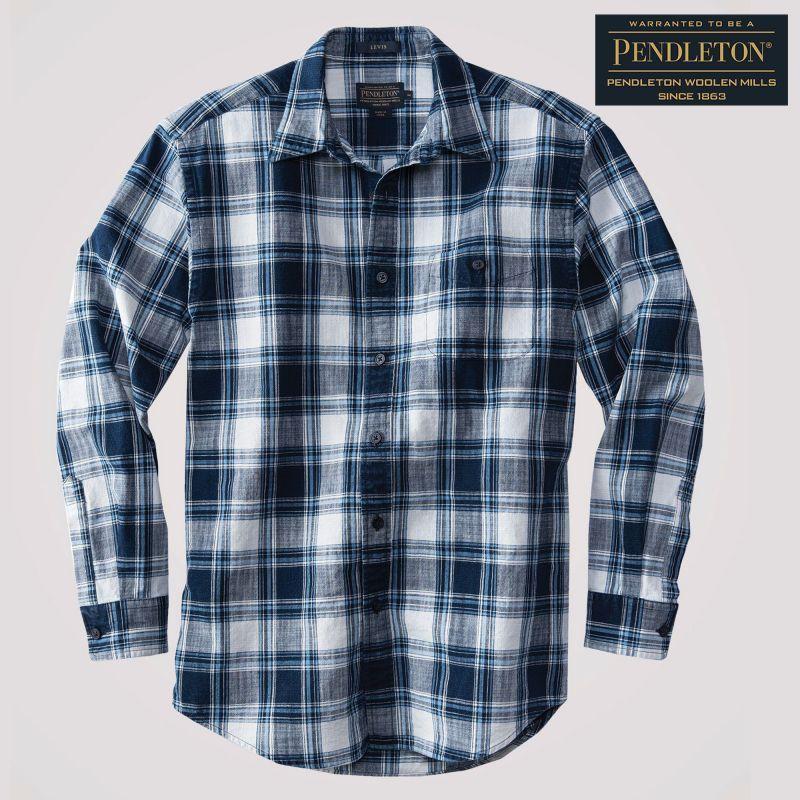 画像1: ペンドルトン プレストン インディゴ プラッド シャツ(長袖)/Pendleton Preston Indigo Plaid Shirt