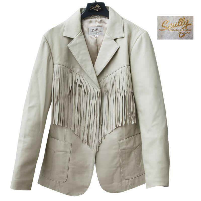 画像1: スカリー レディース フリンジ レザー ブレザー(クリーム)S/Scully Leather Fringe Blazer(Women's) (1)