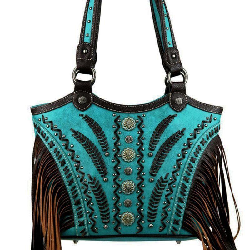 画像1: コンチョ&スタッズ ウエスタン フリンジ ハンドバッグ(ターコイズ)/Western Fringe Handbag(Turquoise)