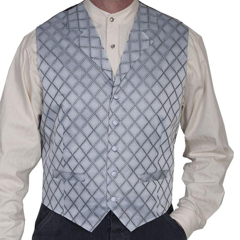 画像1: スカリー オールドウエスト ベスト(ダイヤモンドロープ・グレー)L/Scully Old West Vest (Diamond Rope/Grey)
