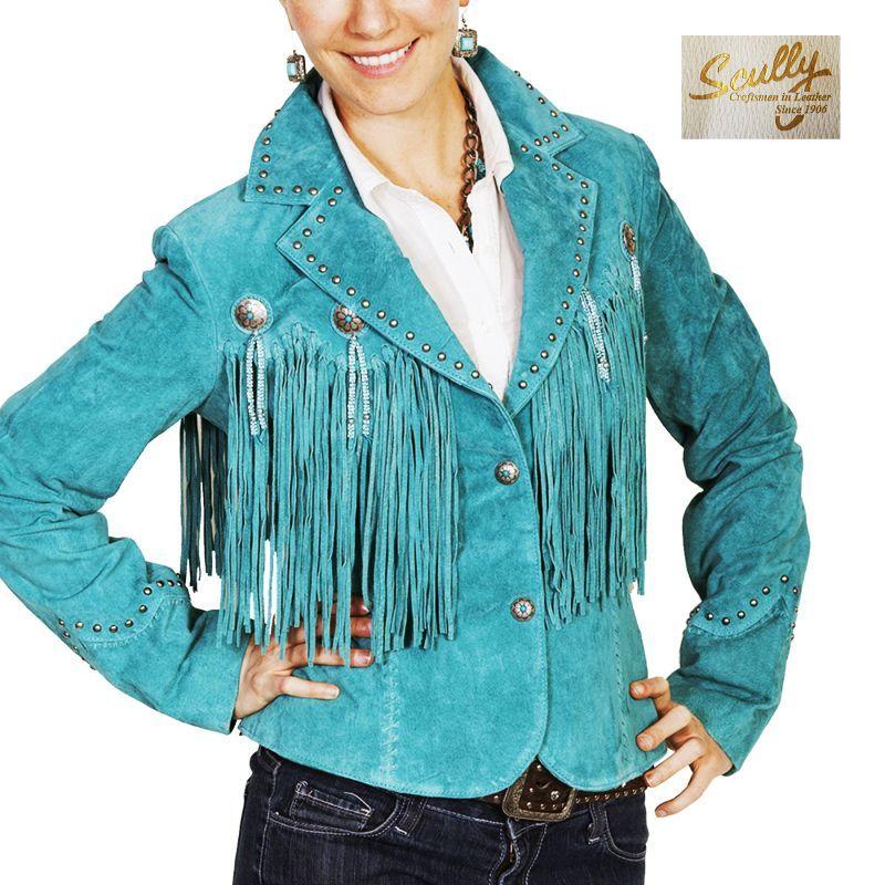 画像1: スカリー レディース フリンジ レザー ジャケット(ターコイズ)/Scully Leather Fringe Jacket(Women's)