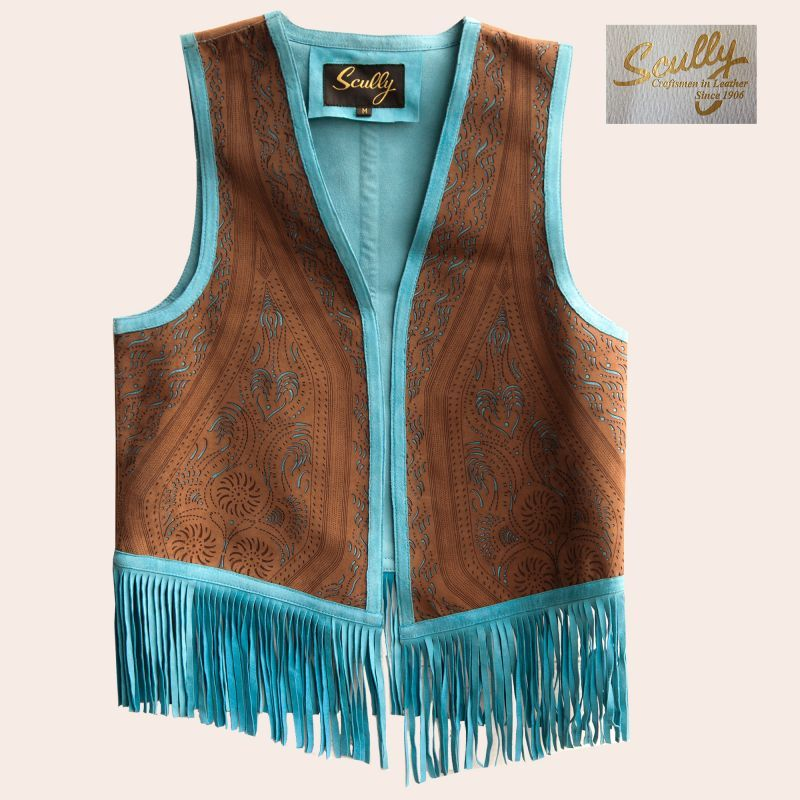 画像1: スカリー ラムレザー フリンジ ベスト(ブラウン・ターコイズ)M/Scully Fringe Vest(Women's) (1)