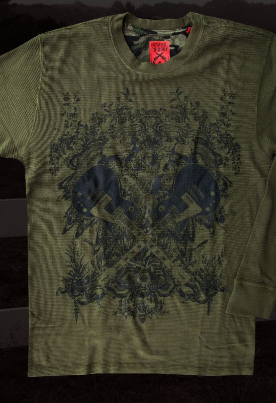 画像2: ロックンロール カウボーイ ギター 長袖 Tシャツ(オリーブ)/Panhandle Slim Long Sleeve T-Shirt
