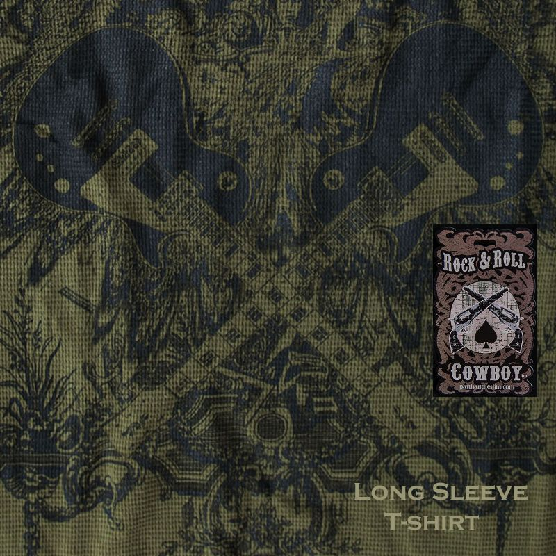 画像1: ロックンロール カウボーイ ギター 長袖 Tシャツ(オリーブ)/Panhandle Slim Long Sleeve T-Shirt