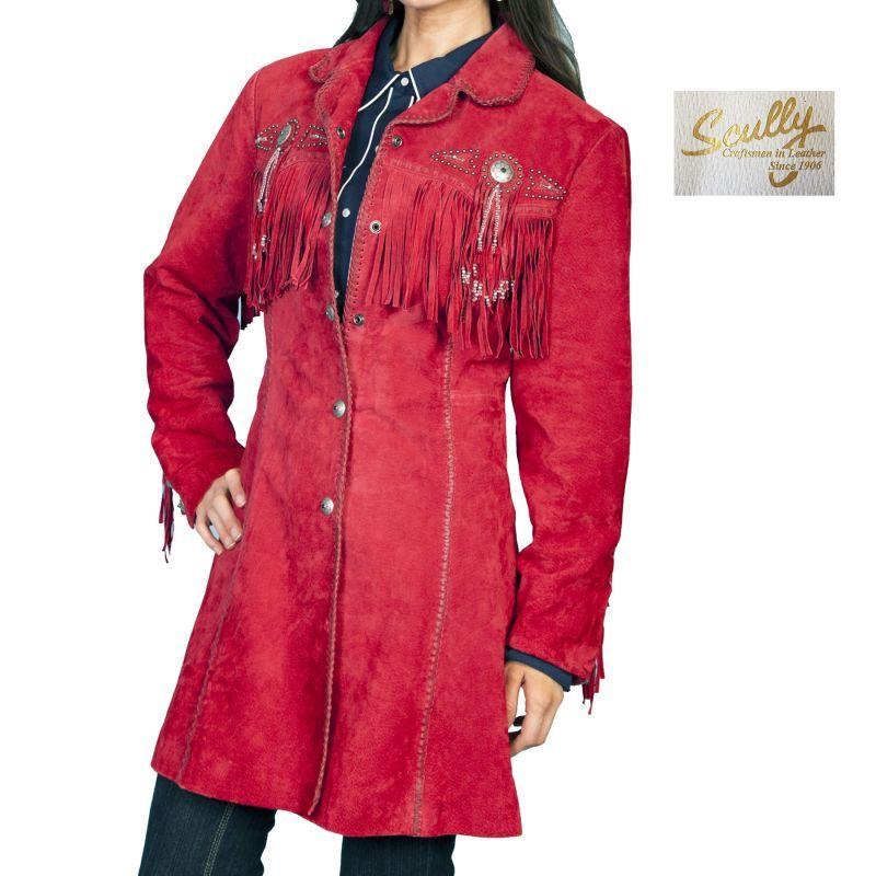 画像1: スカリー ウエスタン フリンジ レザー コート(レッド)/Scully Leather Fringe Coat(Women's) (1)