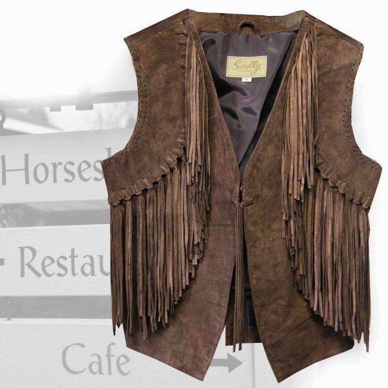 画像1: スカリー ウエスタン フリンジ ベスト(ブラウン)XS/Scully Western Fringe Vest(Women's) (1)