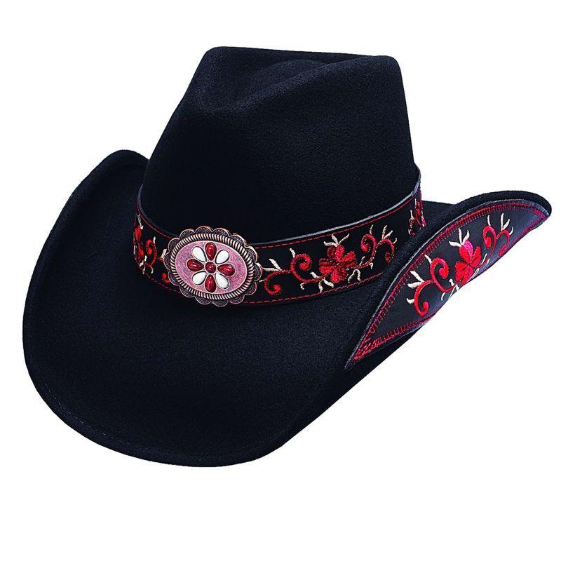 画像1: ブルハイド カウガール ウール ハット オールフォーグッド(ブラック・レッド)/Bullhide Wool Cowgirl Hat All For Good(Black/Red)