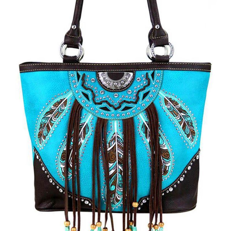 画像1: 刺繍フェザー&フリンジ サウスウエスト トートバッグ(ターコイズ・ブラウン)/Tote Bag