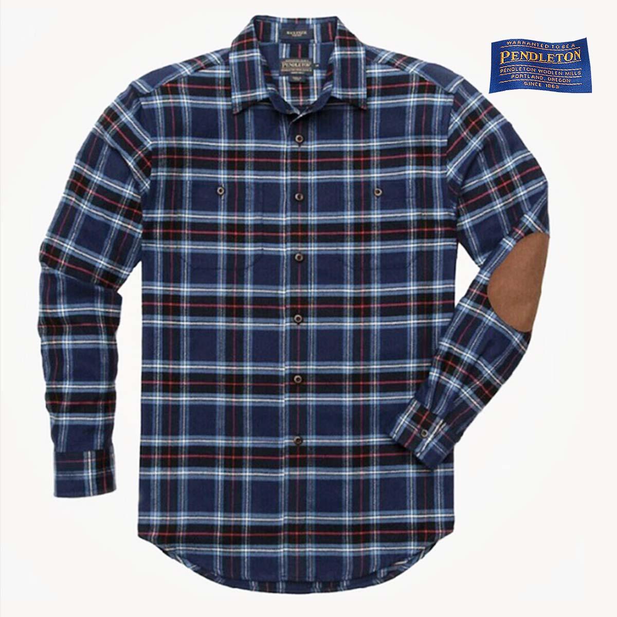 画像1: ペンドルトン エルボーパッチ ホーソーン フランネル シャツS(Mackenzie Blue)/Pendleton Hawthorne Flannel Shirt