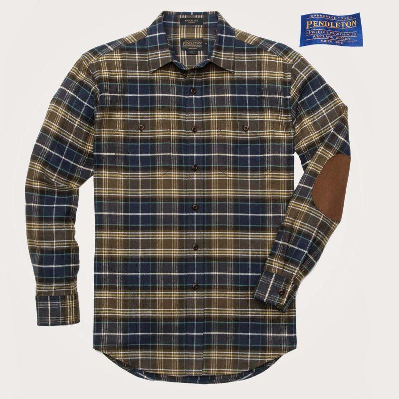 画像1: ペンドルトン エルボーパッチ ホーソーン フランネル シャツS(Mackellar Blue)/Pendleton Hawthorne Flannel Shirt