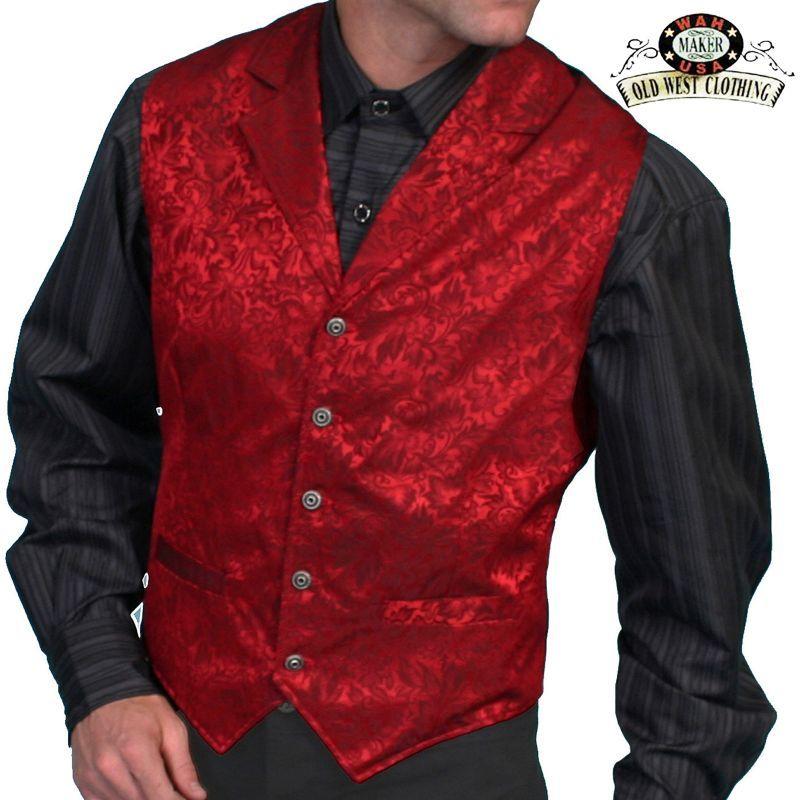 画像1: ワーメーカー シルク ベスト(フローラルレッド)/Wah Maker Old West Vest(Red) (1)