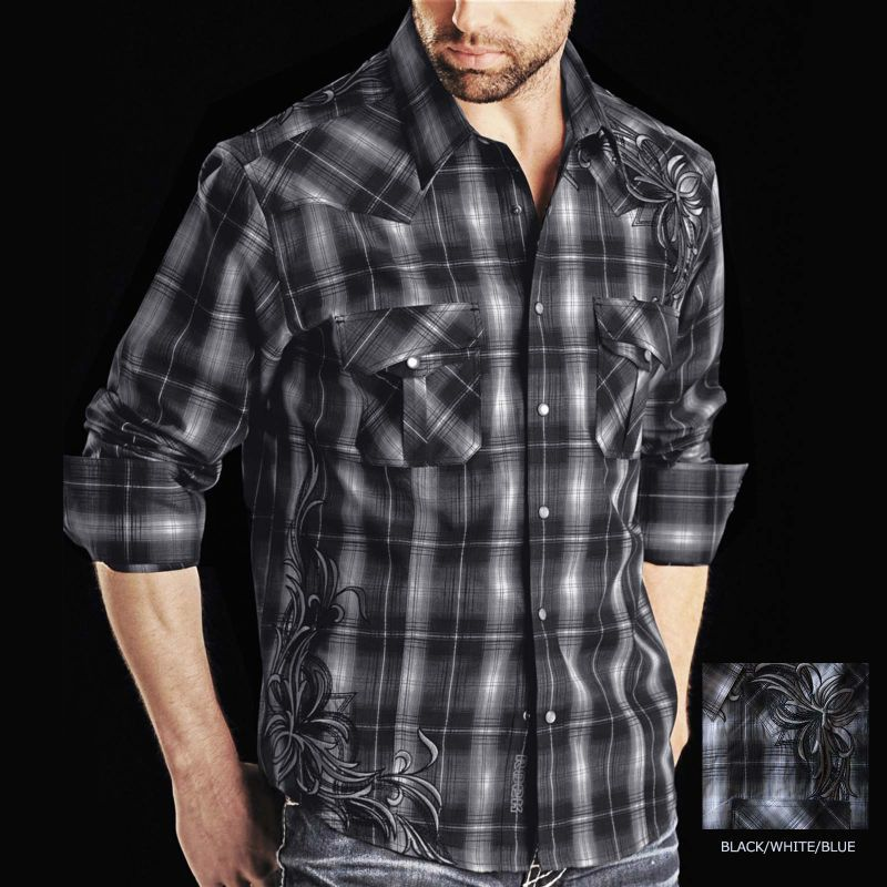 画像1: ロックンロールカウボーイ 刺繍 ウエスタンシャツ ブラック(長袖)M/Panhandle Slim Long Sleeve Western Shirt
