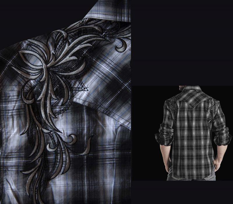 画像3: ロックンロールカウボーイ 刺繍 ウエスタンシャツ ブラック(長袖)M/Panhandle Slim Long Sleeve Western Shirt