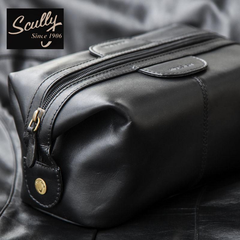 画像1: スカリー レザー トラベルキット ケース(ブラック)/Travel Kit(Black)