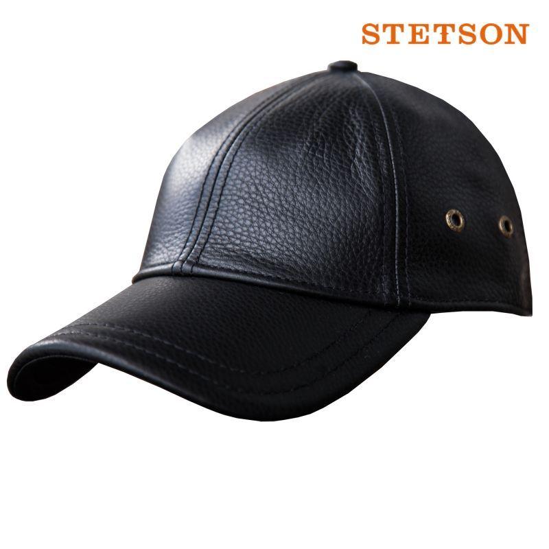 画像1: ステットソン レザーキャップ(ブラック)/Stetson Leather Baseball Cap(Black)
